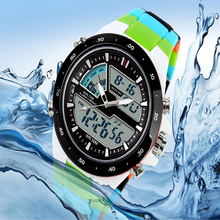 Men Waterproof Sport Digital Analog Dual Time Alarm Date Chronograph Wrist Watch smt 89