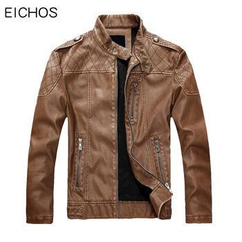 EICHOS High Quality Fashion Mens Leather Motorcycle Jacket Slim Business Casual Pu Faux Leather Jacket Men Warm Leathers Coat