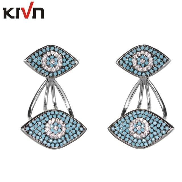 Kivn Fashion Jewelry Turkish Blue Eye Pave Cz Cubic Zirconia Womens Bridal Wedding Earring Ear Jackets