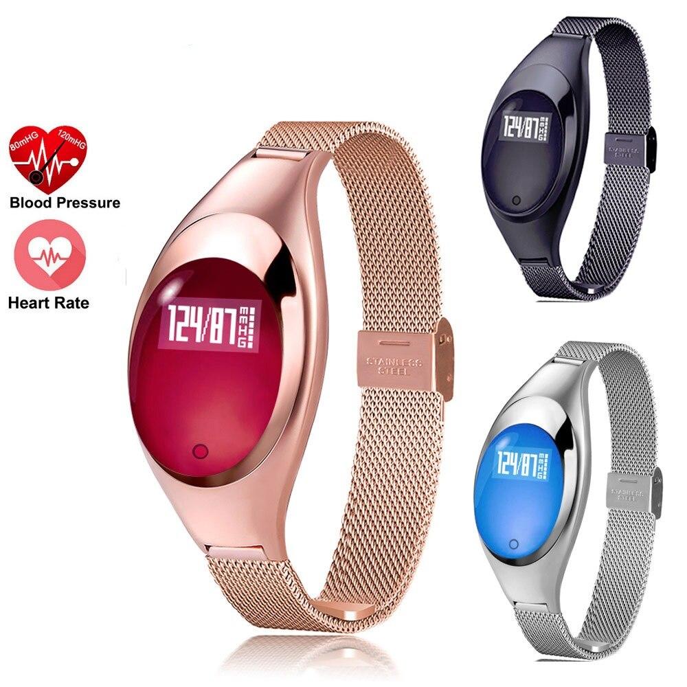 Femmes Mode Montre Smart Watch Avec La Pression Artérielle Moniteur de Fréquence Cardiaque Podomètre Fitness Tracker Bracelet Pour iPhone Android IOS Z18
