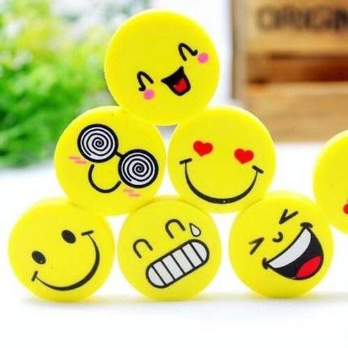 120pcs/lot Mini Cute Cartoon Kawaii Rubber Smile Face Eraser For Kids Gift School Supplies
