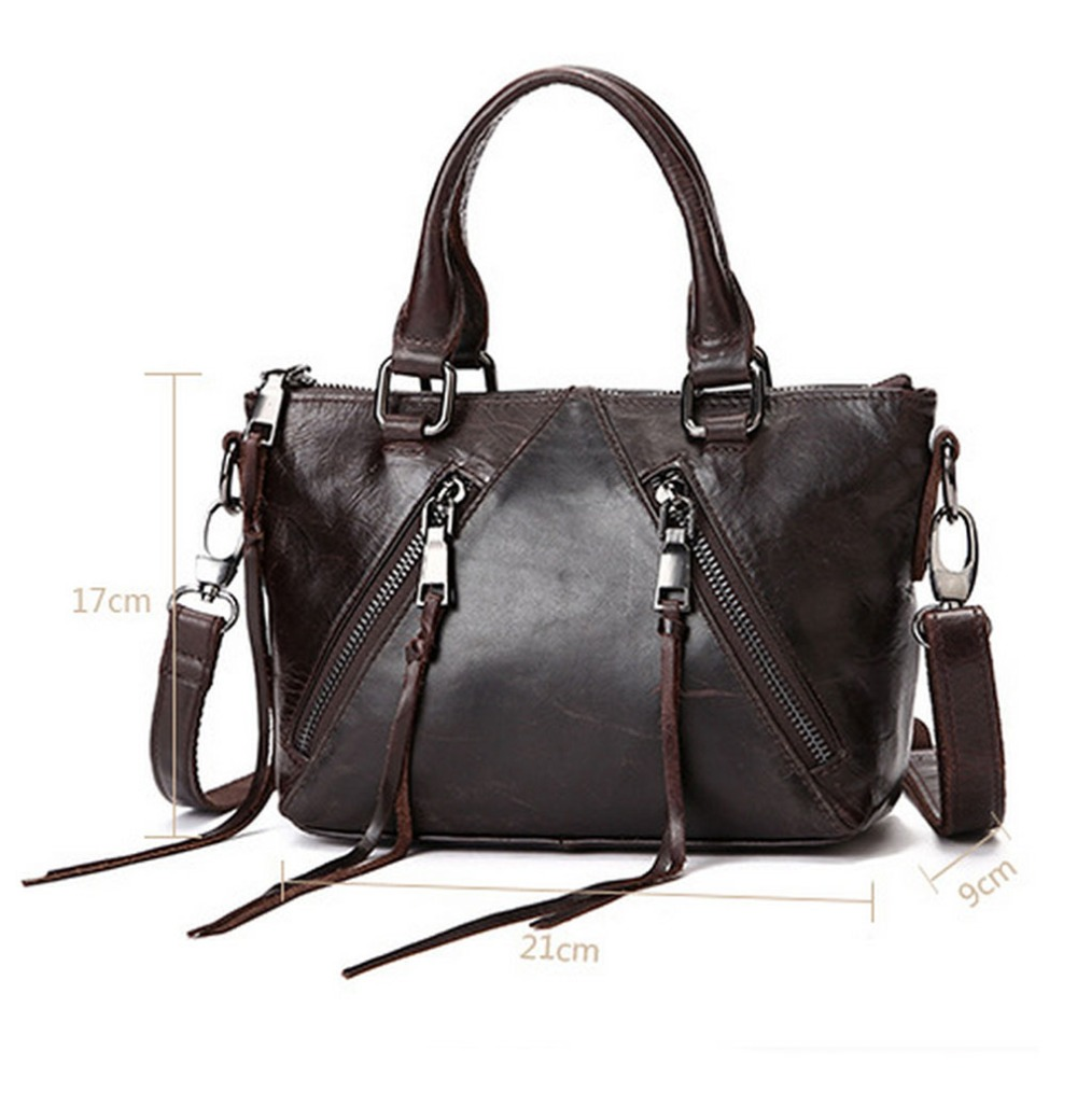 Womens Fashion Wax oil Cowhide Genuine Leather Tote Bag wallet Crossbody Messenger Shoulder Bags Handbags yicob men messenger bags 100% genuine cow leather shoulder bag first layer cowhide crossbody bag oil wax real leather handbags