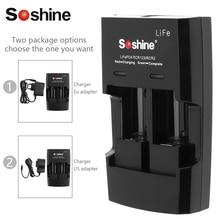Soshine Смарт Интеллектуальное Быстрое Батарея Зарядное устройство для LiFePO4 li-fepo4 RCR123 RCR2 CR2 16340 17335 16340 P Быстрый Батарея Зарядное устройство