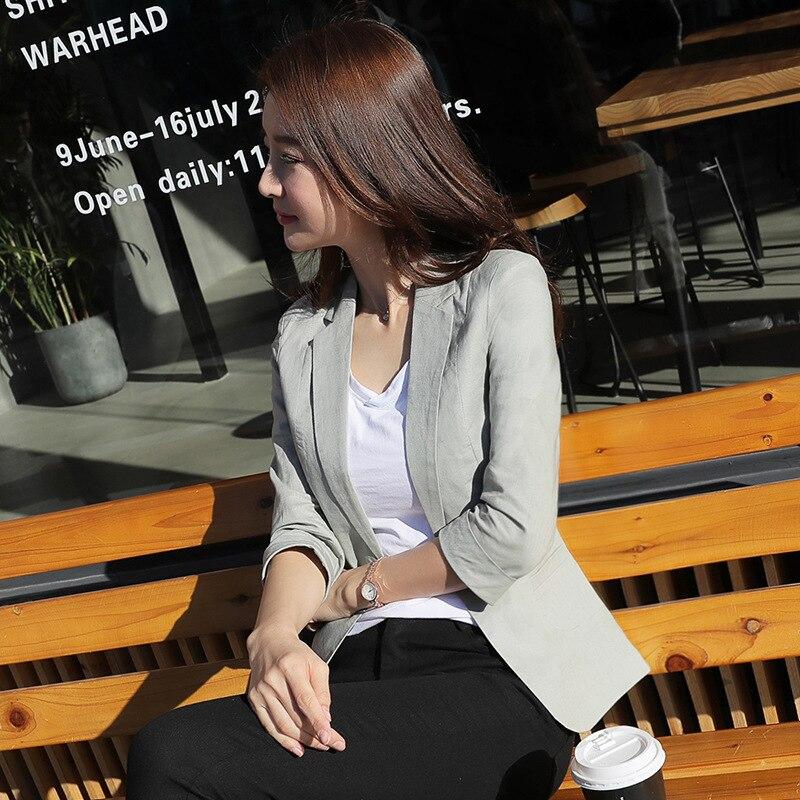 2018 Neue Frühling Koreanische Freizeit Anzug Schlanke Frauen Ol Büro Dame Baumwolle Leinen Blazer Jacke SchöN In Farbe