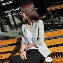 2019 New Spring Korean Leisure Suit Slim Women OL Office Lady Cotton Linen Blazer Jacket
