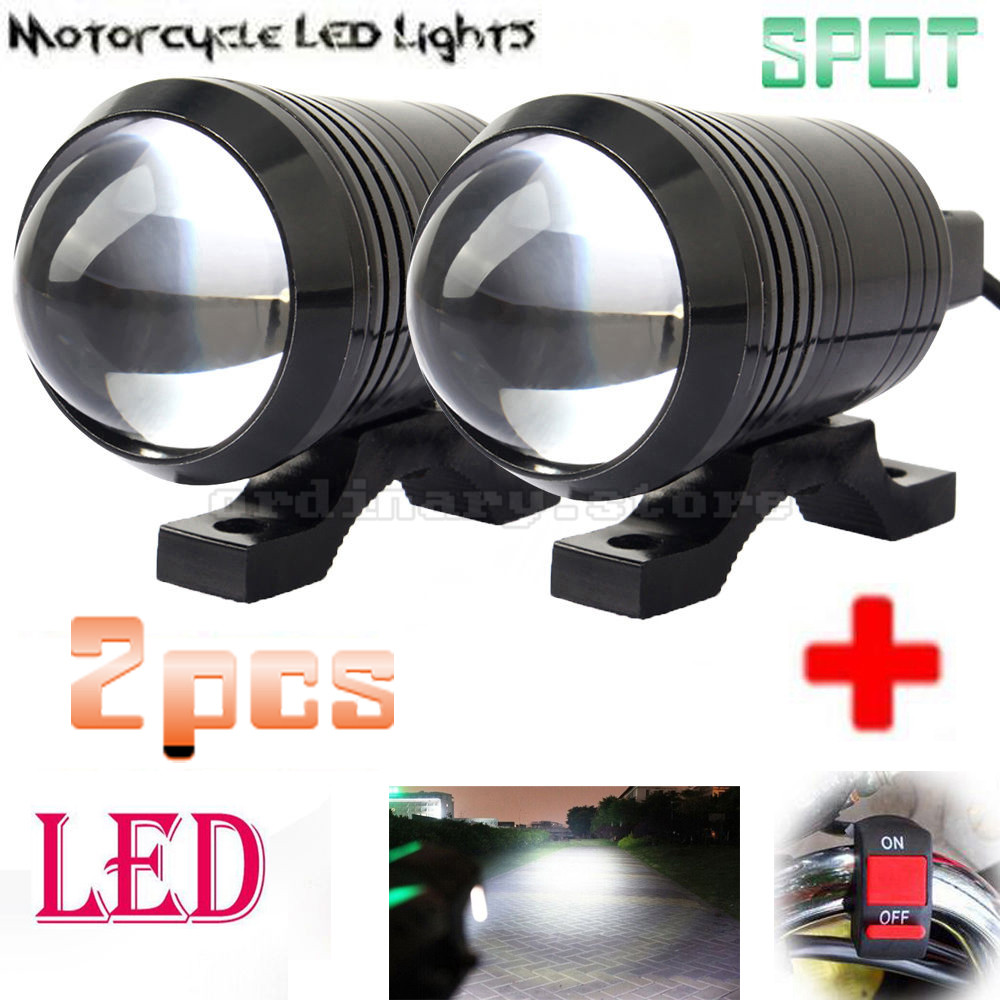 2pcs Universal U1 Fisheye Lens LED 12W Motorcycle Light Headlight Driving Fog Spot Night Work Lamp + Switch