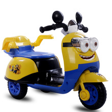 free shipping Minions electric motorcycle  battery stroller  tricycle  electric car for children to ride cute toy