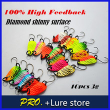 10pcs 3g fishing tackle bait fishing metal spoon lure bait for  trout bass spoons,small hard sequins spinner spoon Free shipping