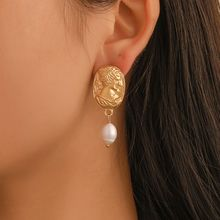 Vintage Baroque Golden Beauty Head Pear Dangle Drop Earrings For Women Jewelry цена