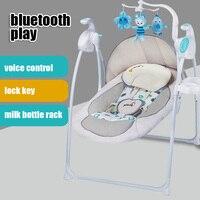 Детские deluxe портативный Электрический Bluetooth Музыкальные кресло качалка колыбель кровать успокоить кроватки мягкие голосового управления