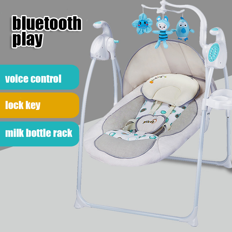 Infant baby deluxe portable electric bluetooth musical rocking chair cradle bed placating crib soft voice control recline chair music massage detachable folding back to multi stall adjustment rocking chair crib cradle bed
