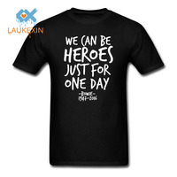 David Bowie Ziggy Stardust Graphic T Shirt Metal Rock TShirt WE CAN BE HEROES Cotton T