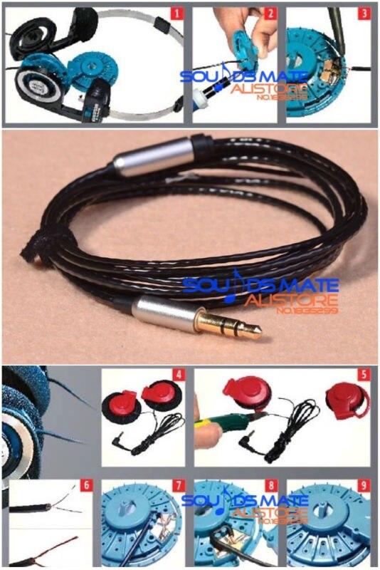 Preto nova atualização prata chapeado cabo para koss porta pro portpro pp fones de ouvido fones de ouvido