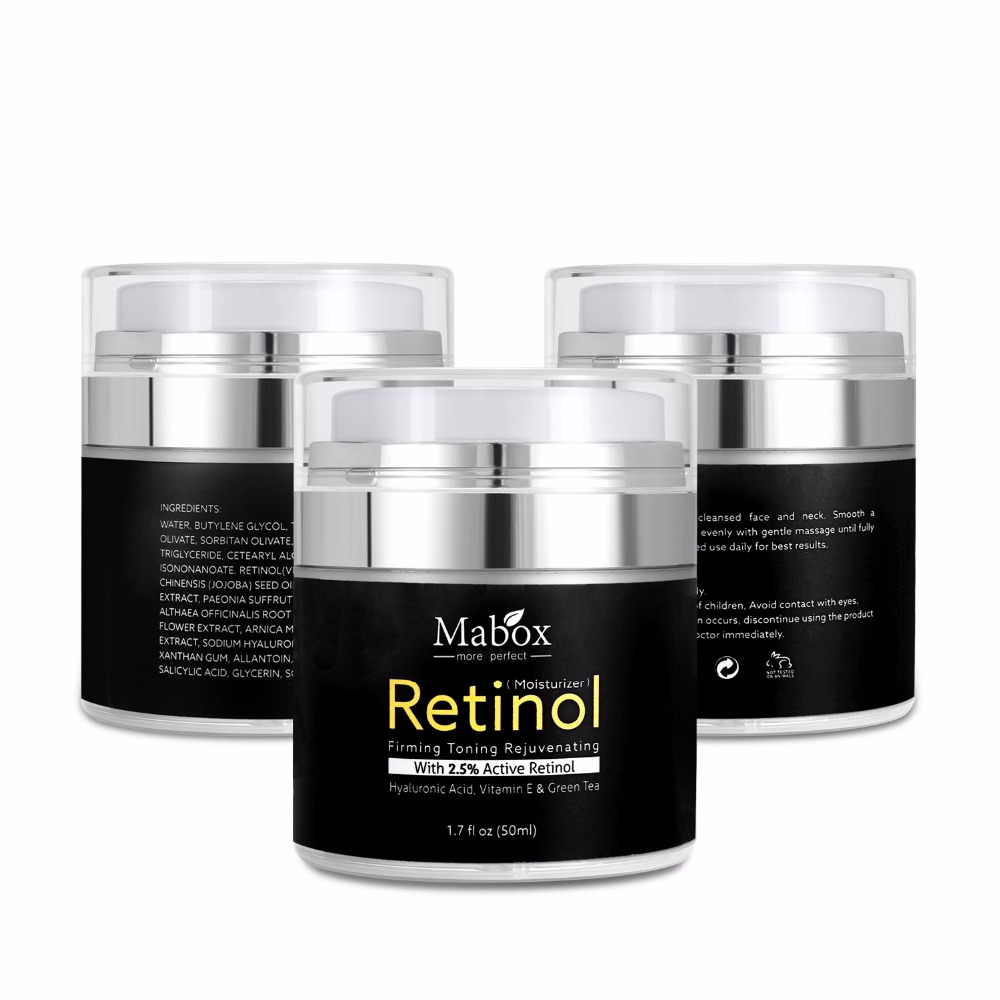 50Ml Mabox Retinol 2.5%moisturizer Face Cream Hyaluronic Acid Antiaging Remove Wrinkle Vitamin E Collagen Smooth Whitening Cream 5
