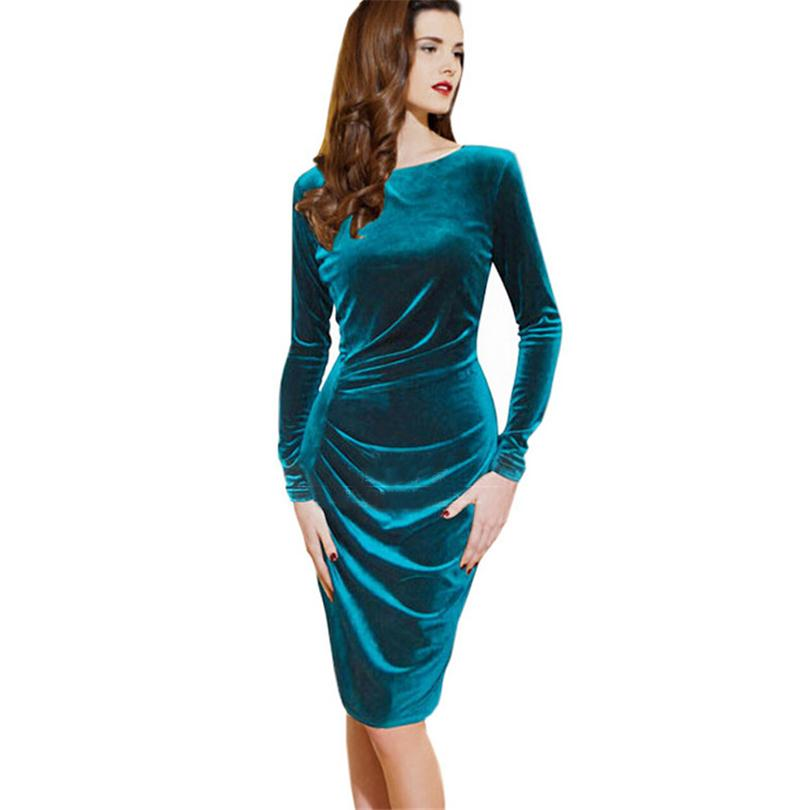 Fashion style spring casual women dress long sleeve sheath Pleuche dresses clubwear plus size women clothing fold pleuche S118