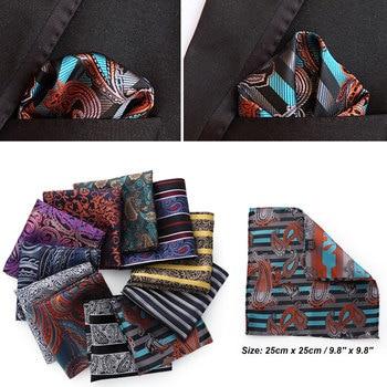 25*25cm Luxury Men's 100% Silk Handkerchief Paisley Floral Jacquard Women Pocket Square Towel For Business Wedding Party