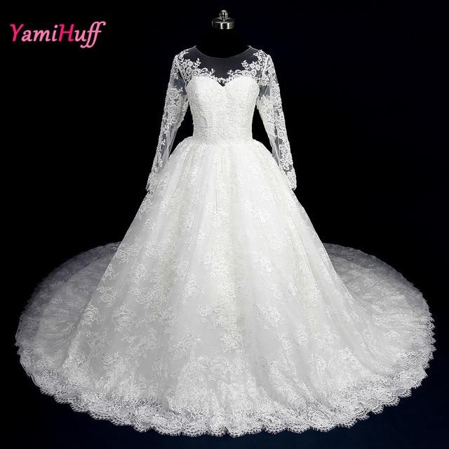 Arab Lace Wedding Dress Long Sleeve Ball Gown Vestido novia Long ...