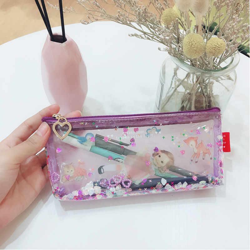 Milk bear Transparent Paillette Glitter move Stars Silica Gel PVC Plastic Water Proof Pencil Bag Pencil Case Cosmetic Bag School