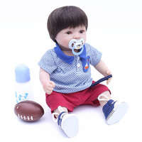 Hot sale16inch 40cm cloth body lifelike toddler baby boy with plush ball lovely baby clothes silicone reborn baby dolls