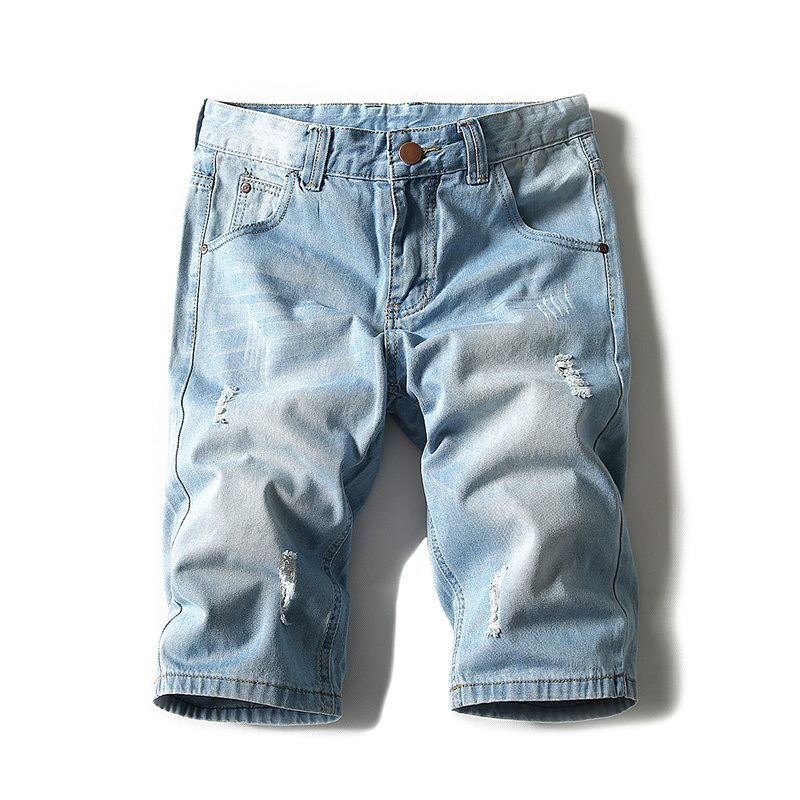 Summer men's hole denim shorts, solid color straight tube loose trend large size men's breeches casual pants 28-42