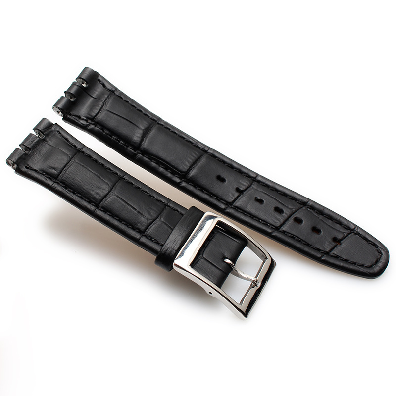 Image 4 - 17MM 19MM Genuine Calf Leather Watch Band Steel Clasp For Swatch Watch YRS YCS Strap Watchband Bracelet Man Fashion Wrist +Tools-in Watchbands from Watches