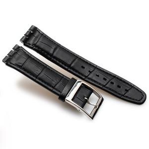 Image 4 - Fermoir en cuir de veau véritable, 17MM 19MM, en acier Bracelet de montre, pour montre Swatch YRS YCS, Bracelet de montre, à la mode pour hommes, poignet + outils