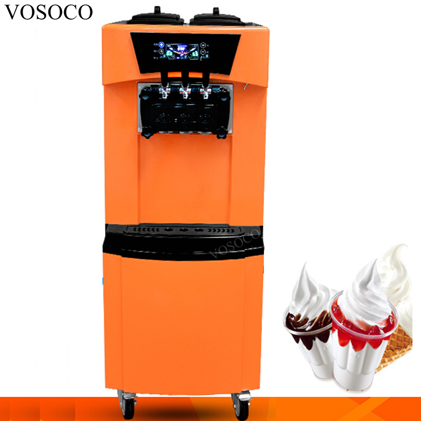 VOSOCO Ice cream machine Commercial soft ice cream maker automatic 3 color LCD touch screen stainless steel ice cream machine