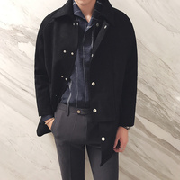 2017 Winter Korean Style Male High Quality Shoulder Design Version Turn Down Collar Long Loose Pure