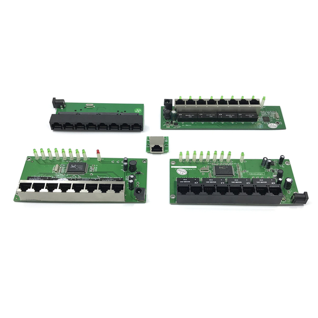 OEM factory direct mini fast 10 / 100mbps 8port Ethernet network lan hub switch board two-layer pcb 2 rj45 1 * 8pin head port