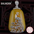 BALMORA Thai Silver Pure 925 Sterling Silver Natural Stone Pendants Mosaics Peacock Carving Vintage Style Women Jewelry MN10949