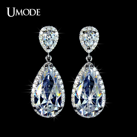UMODE Elegant Teardrop Shape AAA+ Cubic Zirconia Crystal simulated CZ Stone Bridal Earrings For Women UE0034
