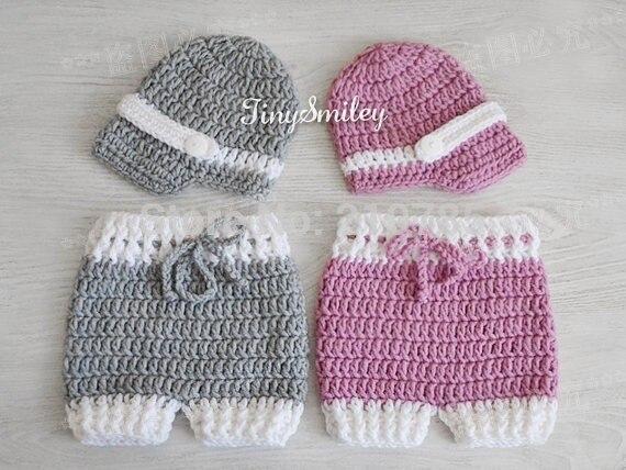 Crochet Baby boy Boys Girls hat+Diaper Cover sets knitted Neonatal Photo  Prop Handmade custom 0a466595128