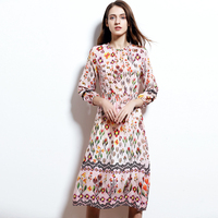 Floral printed Spring women dress top quality wonderful stitich 100% real silk one piece dress prairie chic young style casual