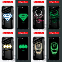 Marvel Venom Avengers Luminous Glass Case For iphone 6 S 7 8 Plus Superman back Cover X 10 XS MAX XR Phone