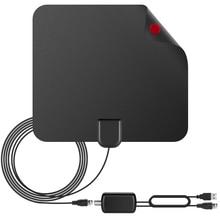 Усиленный HDTV Телевизионные антенны 75 Миля Диапазон со съемной Усилители домашние USB Питание сигнала, 16ft высокая производительность коаксиальный кабель