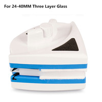 Super Escova Para Lavar A Janela de Vidro Escova Wiper Cleaner Magnetic Double Side Escova de Limpeza De Vidro Para Casa (para vidro 24 -40mm)