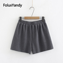 Patchwork Casual Shorts Women Summer Style Knitted Elastic Waist Plus Size Gray KKFY3300