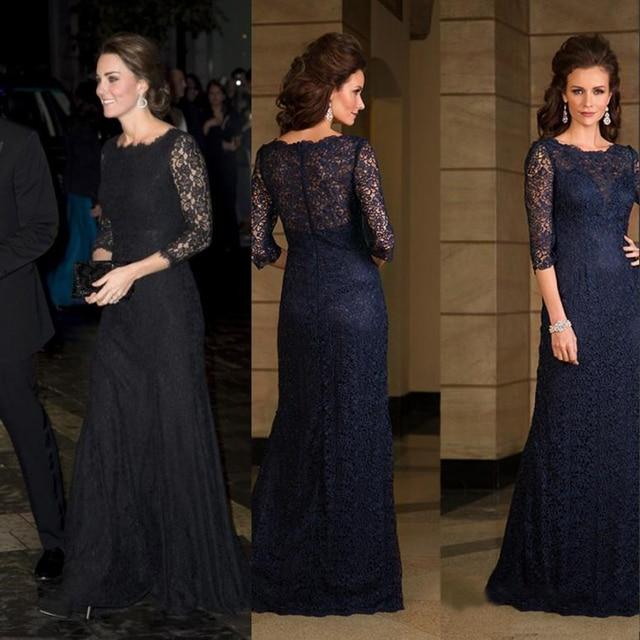 Kate Middleton Black Lace Evening Dress Vestidos Three Quarter