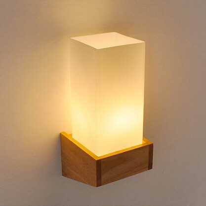 Nordic Wood Modern Wall Lamp LED Bedside Light Concise Glass Wall ...
