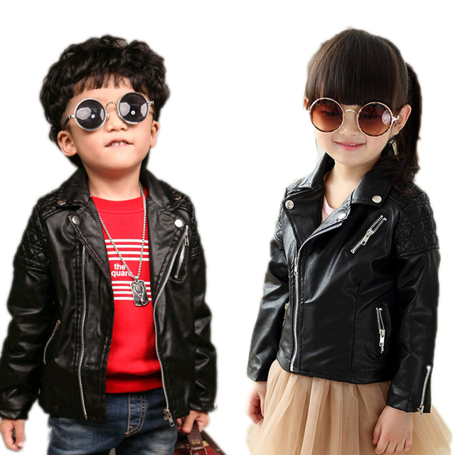 cca6c922d Kids Jacket Boys 2018 New Spring Baby Boy Jackets Solid PU Leather ...