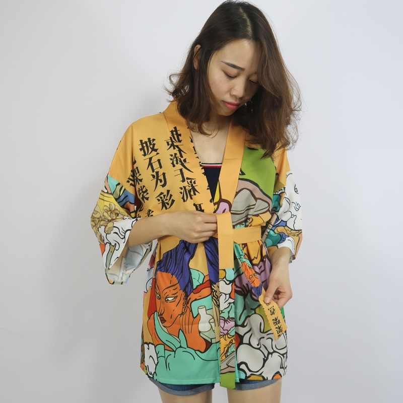 Кимоно кардиган блузка рубашка летние пляжные кимоно женщина 2018 Косплей юката женский obi японский уличная komono FF1126