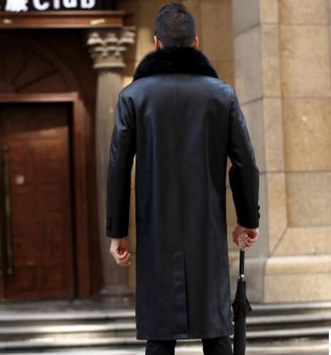 Jackets & Coats M-4xl Hot New Mens Clothing Winter Fur Collars Long Pattern Leather Trench Coat Plus Size Plus Velvet Thicken Leather Overcoat