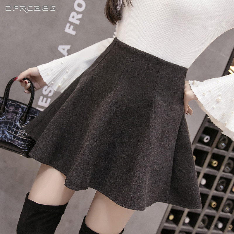 Women's High Waist Mini Skater Skirts 2019 Winter Streetwear Pleated Skirt Retro Ladies Saias Woolen Faldas Mujer Black Gray