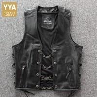 2019 New Mens Moto biker Real Leather Vest Fashion Punk Solid Black Sleeveless Vest Mens Single Breasted Slim Fit Vest Coat