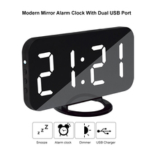 Modern Digital Mirror Alarm Colock with Dual USB Port  LED Display Snooze Function Dimming Modes USB Charger Wall Clock