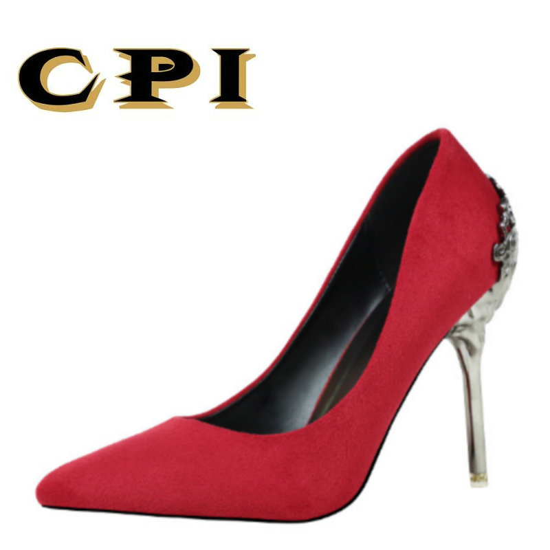 CPI 2018 new spring and autumn High Heels Women shoes Woman Pumps Sexy Office Party Pointed Toe Fashion metal decoration MM-028 choudory high heels woman pumps spring autumn flower decoration woman shoes attractive flock pointed toe party zapatos mujer