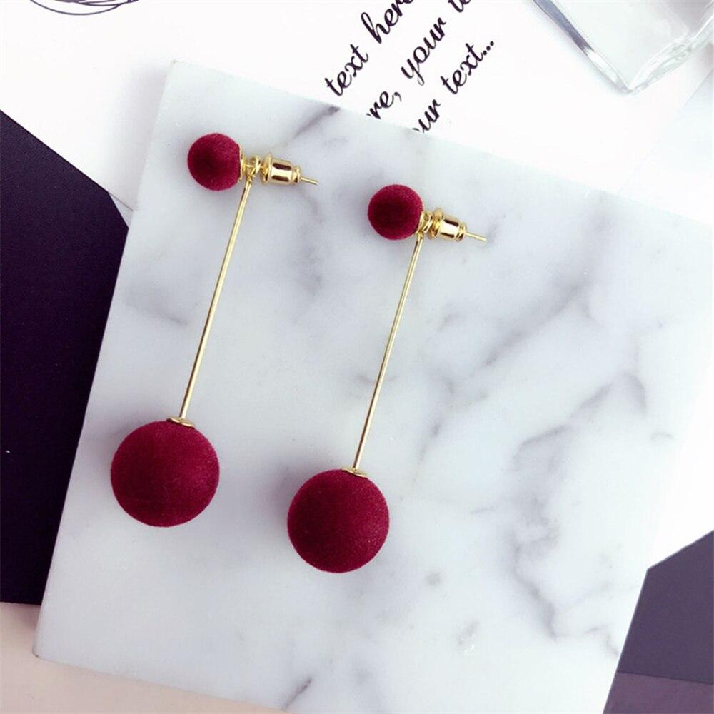 FNIO Mode Rot Schwarz Plüsch Ball Drop Ohrringe Für Frauen Korea Persönlichkeit Runde Lange Quaste Ohrringe Erklärung Schmuck Geschenk