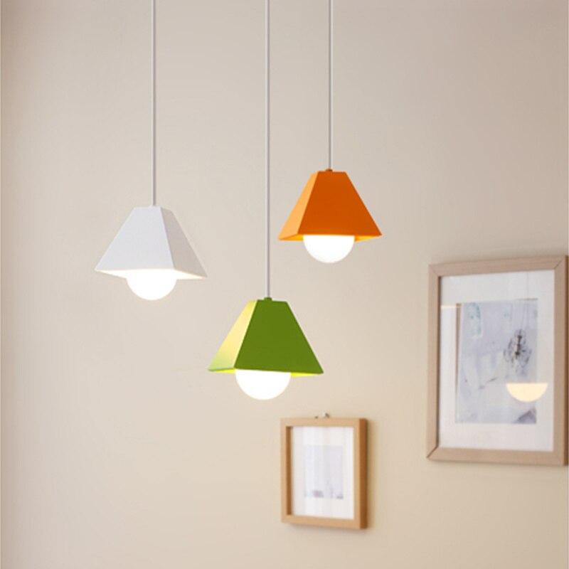купить Creative colorful Iron pendant lights personality restaurant lamp decoration clothes store simple Nordic dining FG855 по цене 3331.88 рублей