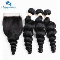Sapphire Hair Loose Deep Wave 3 PCS Human Hair Bundles Lace Closure 3 Bundles Remy Malaysian