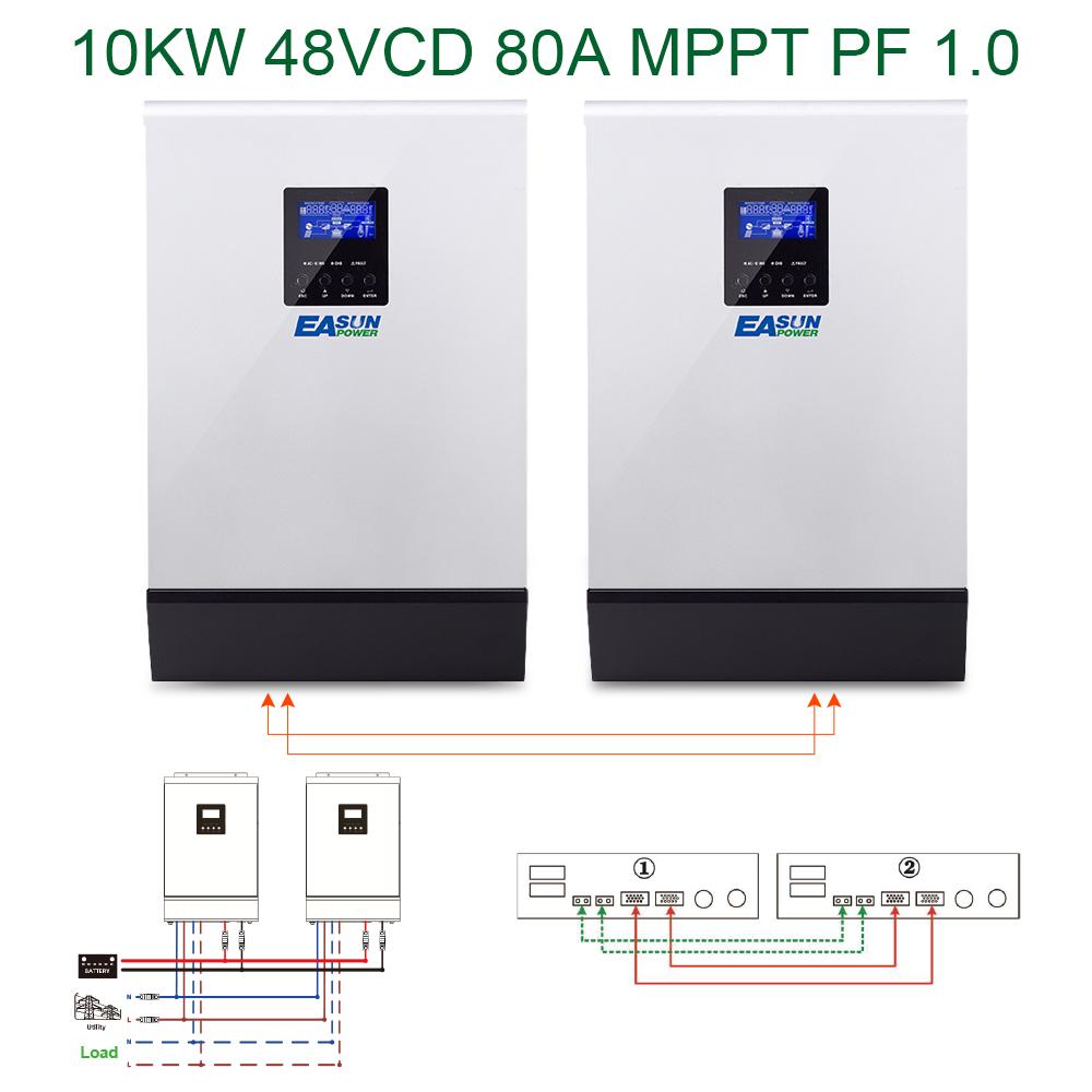 Easun Power 10kw Solar Inverter 80a Mppt Off Grid 48v 220v Pure Sine Wave Circuit Diagram In Addition Hybrid With 60a Battery Charger Inverters Converters From